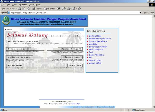 Website Dinas Pertanian Tanaman Pangan Jabar